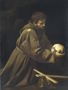 St. Francis meditating on death. -Michaelangelo Merisi da Caravaggio