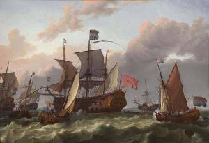 Dutch ships invade England in 1689.