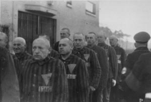 Priests lined up in Dachau, with the triangle denoting they are clergy.
